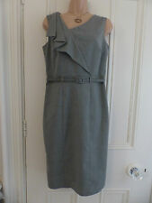"""Sexy M&S pencil dress with ruffle and belt """"natural mix"""" beige colour size 10"""