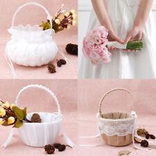 Romantic Bowknot Burlap Satin Wedding Ceremony Party Rose Flower Girl Basket