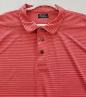 Ben Hogan Mens Short Sleeve Golf Polo Shirt 3XL XXXL Red White Stripes Polyester
