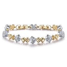 X/Cross 18K Silver & Gold Filled Crystal Sapphire Women Lady Bracelet Bangle BOX