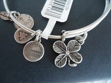 Alex and Ani LUCKY CLOVER Russian Silver Charm Bangle New W/ Tag Card & Box