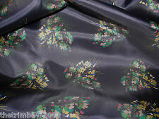 Navy Floral Polyester Craft Dress Fabric  135cm Wide  £3.99 metre Free UK Post