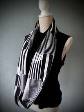black and white infinity scarf, double loop striped scarf, striped chiffon scarf