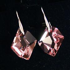 Rose Pink Diamond Cosmic Crystal 6680 Sterling 925 Silver Dangling Drop Earrings