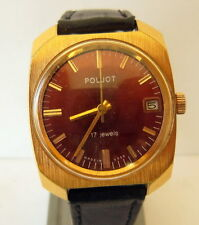 VINTAGE MEN'S POLJOT RARE WATCH GOLD PLATED RUSSIAN/USSR BEAUTIFUL BROWN DIAL#36