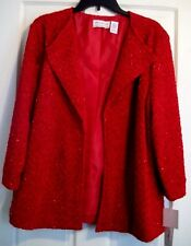 Alfred Dunner Red Sparkle Jacket  Size 20 NWT Wrap It Up