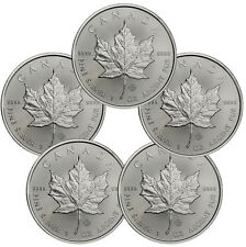 2017 Canada $5 1 oz. Silver Maple Leaf Lot of 5 Coins GEM BU SKU44167