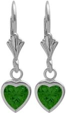 Sterling Silver 1.50 Carat 6mm Created Emerald Heart Leverback Earrings