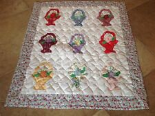 "Beautiful Quilt Applique Flower Basket Multi-Color  Doll -Table Topper 28"" X 32"""