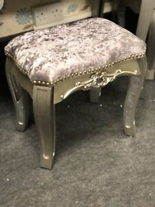 Argente Silver Velvet Mirrored Dressing Stool With Mirrored Legs