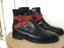 Dries Van Noten Black Jodhpur Boots - Red Buckle - Size 41 / fits US 8,5