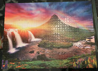 "Framed Jigsaw Puzzle Iceland Sunset Kirkjufell Mountain Frame Included 26"" x 19"""