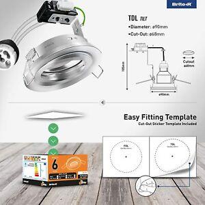 13X GU10 Tilt Swivel Downlight Satin Chrome Brite-R LED Spotlight Recessed