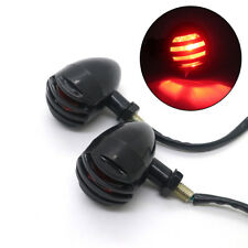 2X Motorcycle Bullet Black Grill Turn Signal Tail Brake light Red Len For Harley