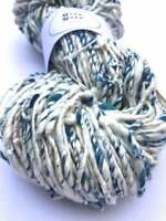 Organic blue raw slub cotton yarn, super soft. Variegated, knit, crochet, weave.