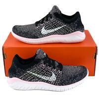 Nike Free RN Flyknit 2018 Black Pink Foam Women's Running Shoes White 942839 007