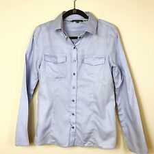 Patrizia Pepe Firenze Womens Blue L/S Button Down Career Blouse Size 42 (S)