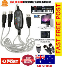 USB Interface to MIDI Converter Cable Adapter Keyboard All MAC Windows 7 8 10