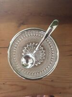 Vintage 1930's Cut Glass Bowl With Silver Plated Rim And Silver Spoon