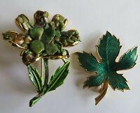 2 piece Vintage Green Enamel Maple Leaf and Jade Stone Chip Enamel Flower 2""