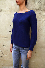 Gas Jumper Womens Blue Knitted Crew Neck Shiny Sweater Shiny  M