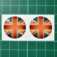 2x Union Jack Flag Domed Stickers - 25mm Dia - High Gloss Raised Gel Finish
