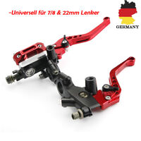 2x CNC 7/8'' 22mm Motorrad Bremshebel Kupplungshebel Set Reservoir Rot Universal