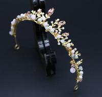 Women Girl Bride Wedding Elegant Pink Crystal Rhinestone Gold Color Tiara Crown