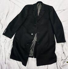 WEATHERPROOF Size 44R Sharp Black Color Cashmere Blend Topcoat--Brand New!
