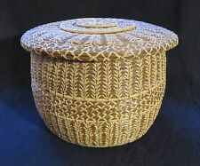 Vintage Folk Art Pine Needle And Raffia Basket Box