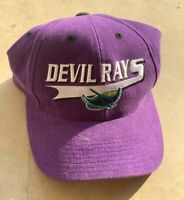 Vtg 90's Tampa Bay Devil Rays Snapback Hat Cap LOGO 7 MLB All Purple One Size