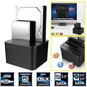 Hard Drive Docking Station USB 3.0 Dual Bay External SATA HDD SSD Offline Clone
