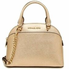 NEW MICHAEL KORS EMMY SMALL DOME SATCHEL PALE GOLD LEATHER BAG CROSSBODY