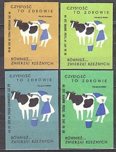 POLAND 1965 Matchbox Label - Cat.Z#585 set Purity is health, also ... of slaught