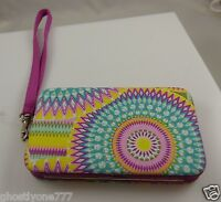 fits Iphone smart phone Id holder indian sun print color white wallet wristlet