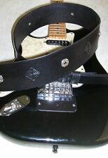 """Custom Leather Guitar Strap 2 3/4""""wide,Celtic Concho and Tooled,Black,Adj.46-51&#0 34;"""