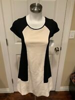 Maeve Anthropologie Black & Textured Cream Colorblock Dress, Size Small
