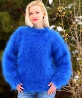 Fuzzy mohair sweater crewneck designer thick hand knitted pullover SUPERTANYA