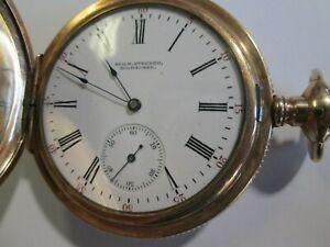 ANTIQUE WALTHAM HUNTER GOLD POCKET WATCH MARKED AUG. H. STECHER MILWAUKEE
