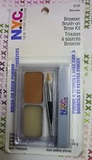 NYC Browser Brush On Brows Eyebrow Colour Kit 875A Blonde Powder Wax Tweezers