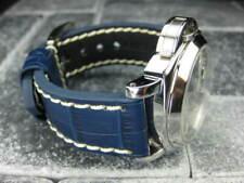 24mm BIG CROCO Leather Strap Blue Thick Watch Band Belt White Stitch PANERAI