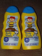2 Peanuts Snoopy & Charlie Brown Watermelon Scent Body Wash Gentle Formula-14 Oz