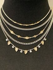 LUCKY BRAND Silver-Tone Cat Eye Multi-Layered Choker Necklace NWT $45 Fast Ship!