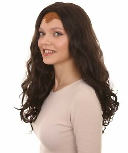 Dark Brown Curly Long Wig with Copper or Grey Crown Cosplay Wonder Woman Costume