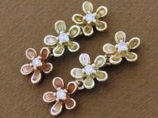 E81 SOLID 9K Gold NATURAL Diamond BLOSSOM Earrings Rose Yellow & White Tri-Gold