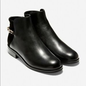 NIB Cole Haan Grand OS Idina Women Ankle Boots Booties Black Leather 7 low heels