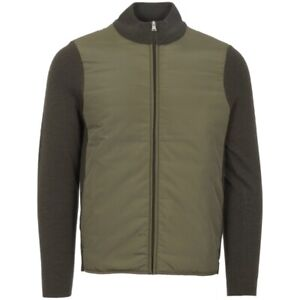AQUASCUTUM WISE PANELLED FUNNEL NECK MILITARY GREEN JACKET - XL RRP £390