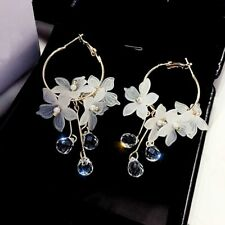 Elegant Flower Crystal Tassel Drop Dangle Stud Earrings Women Charm Jewelry Gift