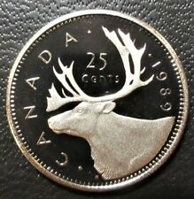 1989 Canada Steel Proof 25 Cents - Uncirculated Quarter from Set
