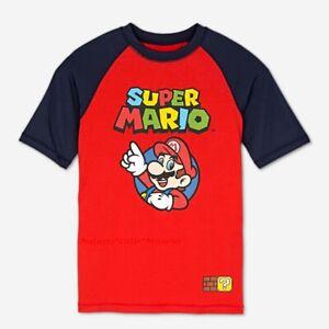 NWT Super Mario Boys Rash Guard Swim Shirt Size 4 -14 Swimsuit Top UPF UV 50 NEW